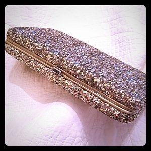 Handbags - Gold glitter clutch