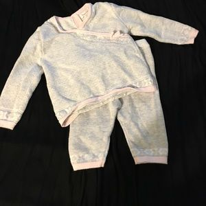 Angel Dear Other - Grey & pink sweat suit 3-6mo