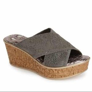 Love and Liberty Olga Grey Cork Wedges