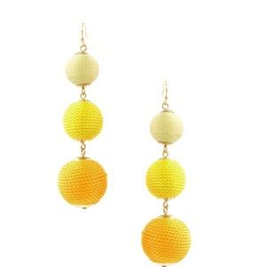 Yellow bauble ball earrings