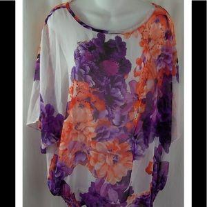 Susan Graver Tops - Susan Graver Chiffon Sheer Floral Top Blouse