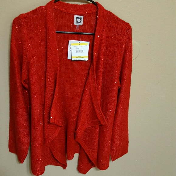 78% off Anne Klein Sweaters - NWT Anne Klein red sequin cardigan ...