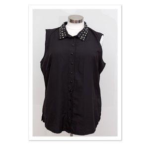 SWAK Tops - SWAK Black Sleeveless Button Up Top