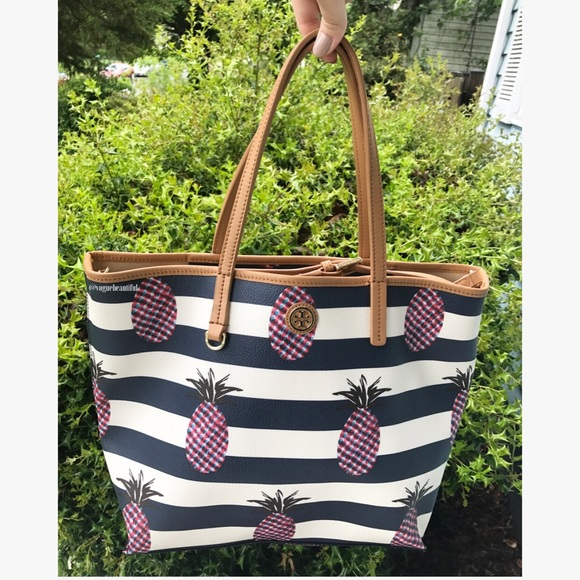 c46ebc6d2fb Tory Burch Kerrington Striped Pineapple Tote. M 59110dad2ba50a5e50020fd8