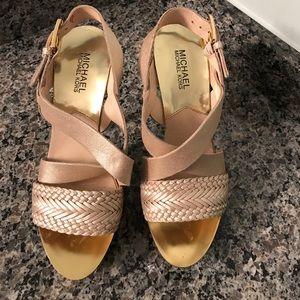 Beautiful platinum platform Michael Kors heels