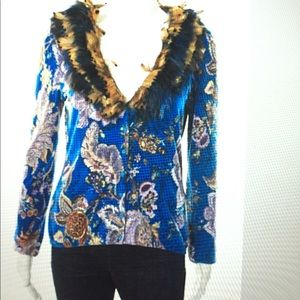 Blumarine Sweaters - Blumarine blue floral print feather cardigan size8