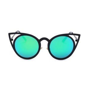 Accessories - Blue-Green Cat Eye Mirror Sunglasses