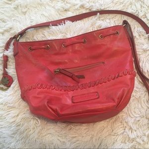 LUCKY BRAND Genuine Leather Red Crossbody Bag