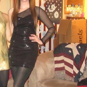 Black Sequin One-Sleeve Mesh Dress