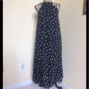 TS Three Seasons Dresses & Skirts - NWT TS THREE SEASONS BL/WHT DOT MAXI DRESS