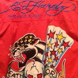 Ed Hardy Other - Button front 100% cotton RED Men's Ed Hardy shirt