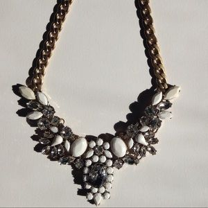 J.Crew white & clear crystal statement necklace