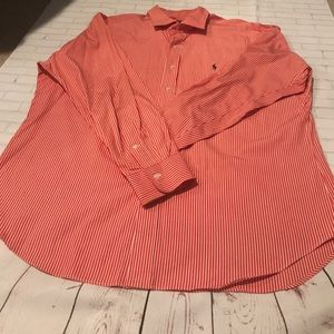 Polo by Ralph Lauren Other - Polo by Ralph Lauren Orange White Button Down XL