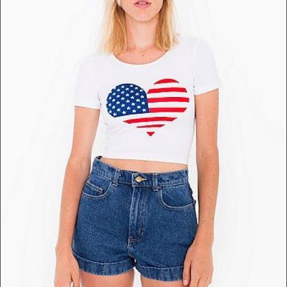 54f78d2e5c40 LAST ONE 💥 American Flag Heart Crop Top Size L