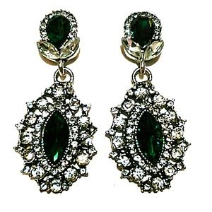 Gorgeous green and silver earrings