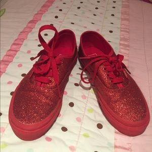 Vans Other - Girls red glitter vans😍