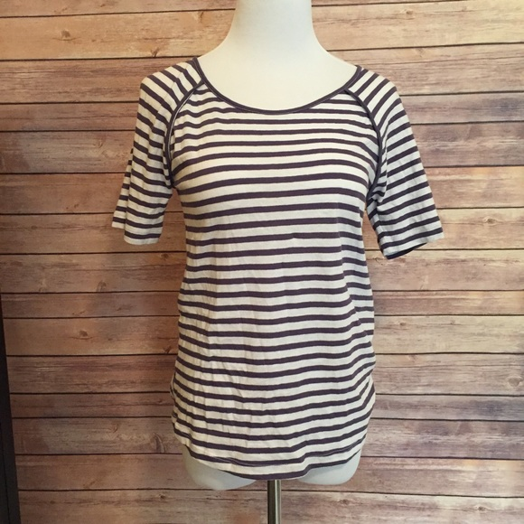 69 off white tops nwt white purple striped cutout tee for Purple and black striped t shirt
