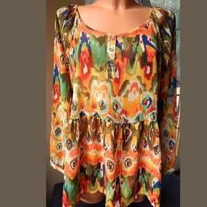 American Vintage Tops - Vintage American Blues Colorful Tribe Tunic L 💃🏻