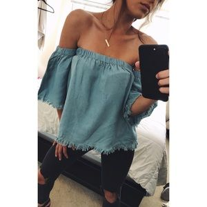 Sadie & Sage Tops - NEW chambray denim off the shoulder top