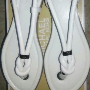 Michael Kors Shoes - Make an offer MK white leather Holly Sandal