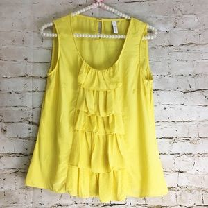 Anthropologie Silk Blouse By Sine Waterfall Yellow
