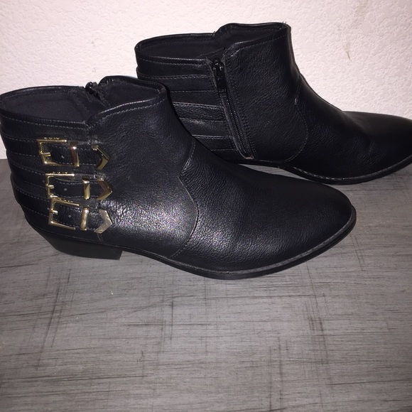 85 aldo shoes aldo black and gold ankle booties
