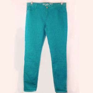 Rue21 Denim - Rue 21 Turquoise Skinny Ankle Jean Size 11 EUC