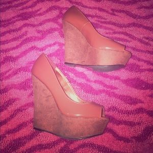 Charlotte Russe Shoes - Brand new Sz 7 Burnt Orange Peep toe wedges