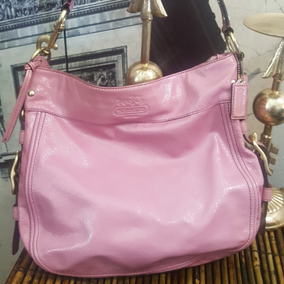 coach light pink patent leather coach handbag from