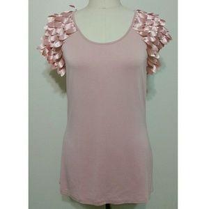 Saks Fifth Avenue Tops - Saks Fifth Avenue // pink adorned cap sleeve tee