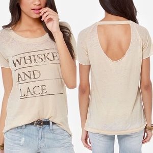 Chaser Tops - Chaser Whiskey & Lace Cutout Tee