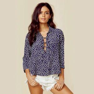 "Faithfull the Brand Tops - Faithfull the Brand ""Kenya"" shirt (Pinup Bow Navy)"