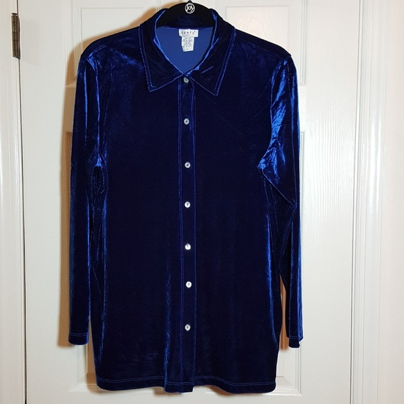 Comfy usa comfy usa blue velvet button down shirt from for Red velvet button up shirt