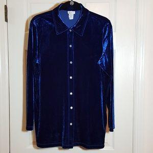 Comfy USA Blue Velvet Button-down Shirt