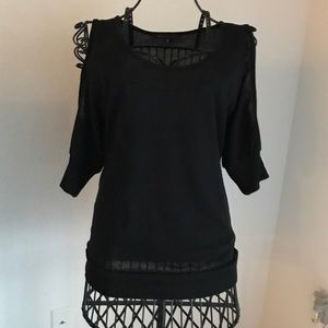 Sweaters - Black sheer cold shoulder sweater