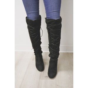Boutique Shoes - Black Suede Over The Knee Boots