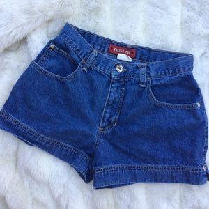 """Trust Me"" Vintage Denim High Waisted Shorts"