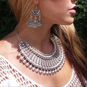 Jewelry - Silver Boho Gypsy Bib Coachella Statement Necklace