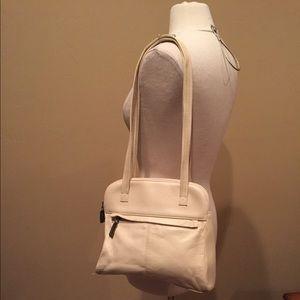 Tignanello Handbags - Tignanello Ivory Leather Shoulder Bag Purse
