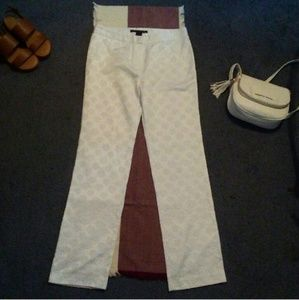 Willi Smith Pants - White Floral Embroidered Pants
