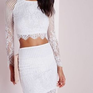 White striped lace crop top and skirt co-ord