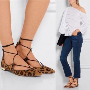 Aquazzura Shoes - Aquazzura Christy leopard-print calf hair flats 9