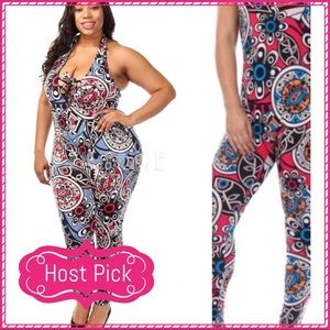 Passion of Essense Pants - HP 🎉Mixed Tribal Print Halter Jumpsuit Plus Size