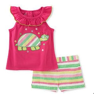Kids Headquarters Other - Kids Headquarters Turtle Top and Striped Shorts