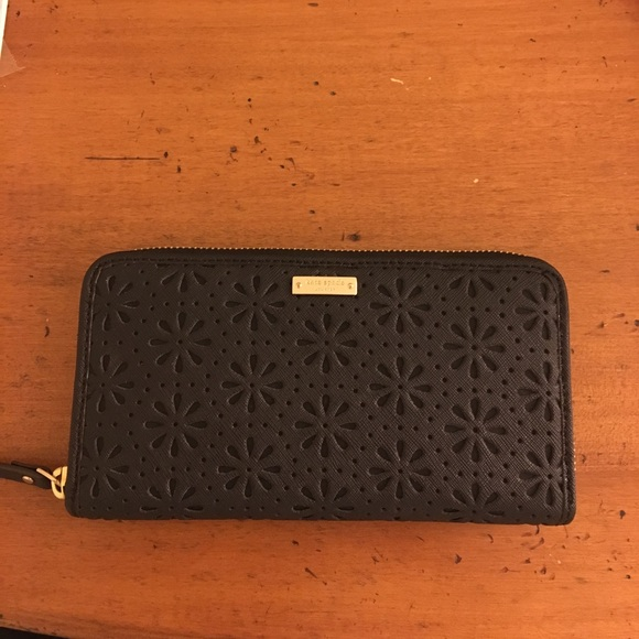 kate spade Handbags - Perforated Black Kate Spade Wallet NWOT