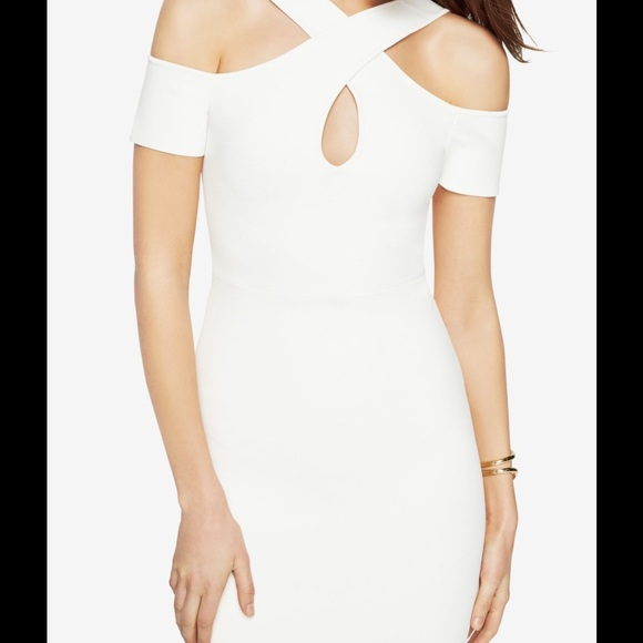 7555727f4fa BCBG Ally Cold Shoulder Halter Dress White. NWT. BCBGMaxAzria