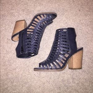 Black open toe strappy booties