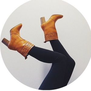 Bare Anthology Shoes - Distressed Laser Cut Tall Booties