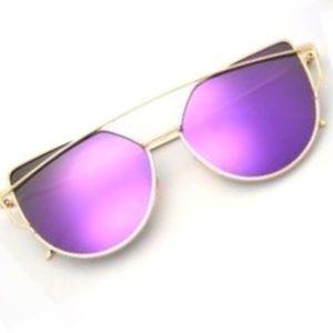 Accessories - PURPLE + Gold Mirror SUNGLASSES Aviators Cateye