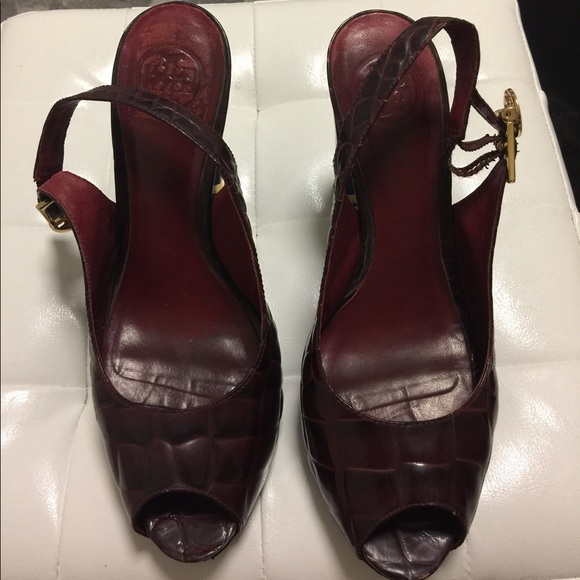001180076274a Tory Burch Shoes - Tory Burch Allison Croc Embossed Slingback pumps 7